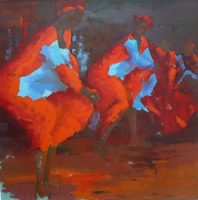 danses nocturnes, huile sur toile, 120 cm x 120 cm