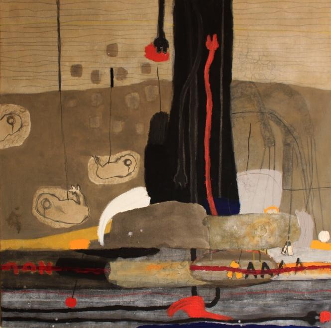 Evolution Révolution, acrylique et pigments sur toile ,110x110 cm