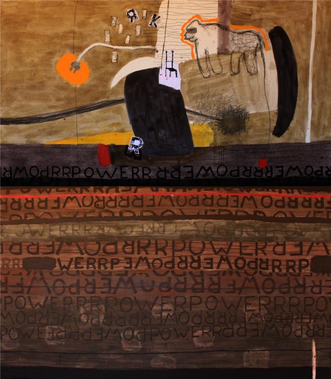 Evolution Révolution, acrylique et pigments sur toile, 200x180 cm