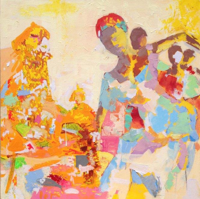 -------------------, acrylique et huile sur toile, 40x40  cm