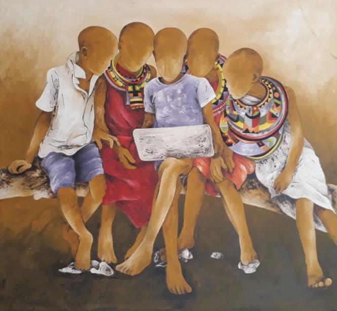 enfants Massai devant l'ordi 119X130