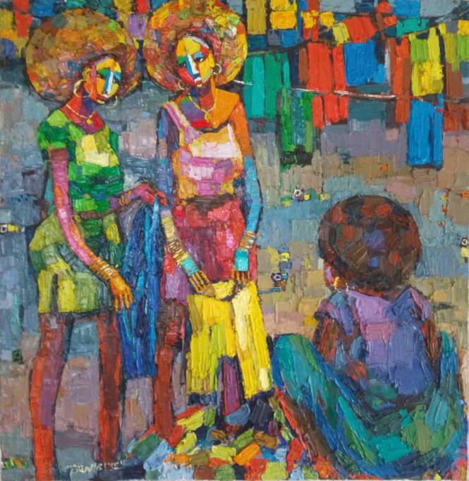 Afro Girls (shopping)106 x 110 cm