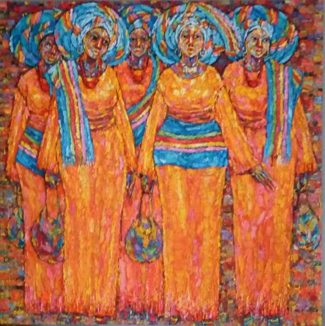 Asoebi Arrival (orange) 124 x 121 cm