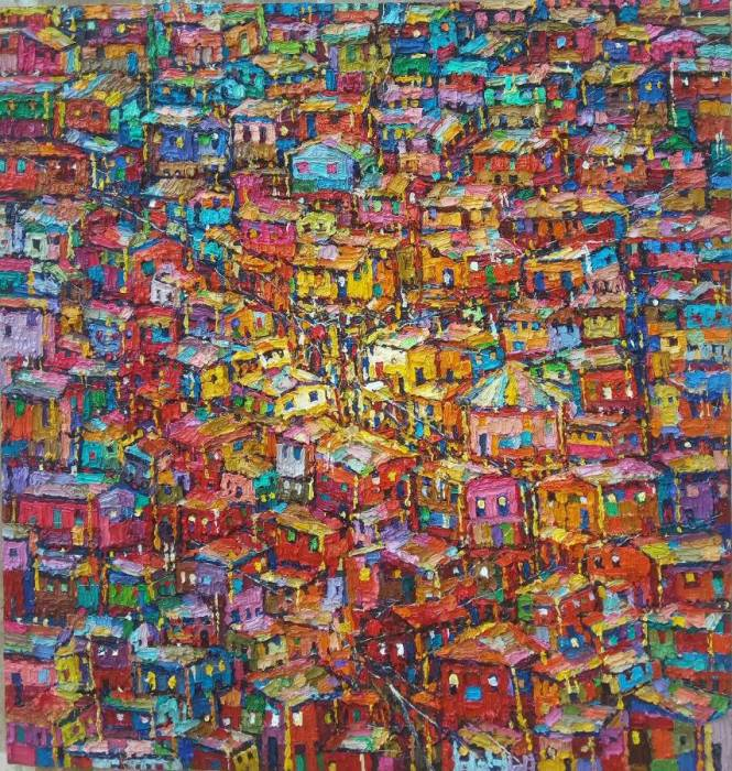 Urban Scape (red base) 107 x113cm
