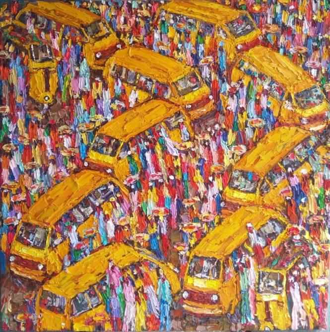 Yellow Buses(1 ) 93 x 93 cm